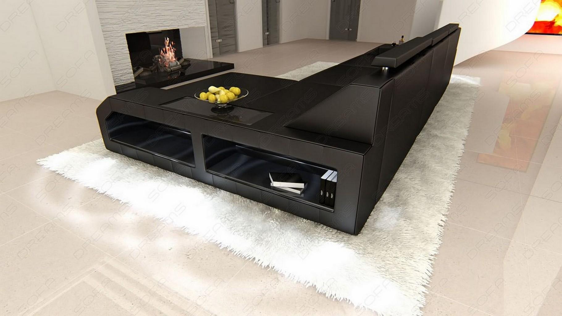 ledersofa arezzo l form ecksofa beleuchtung viele farben. Black Bedroom Furniture Sets. Home Design Ideas