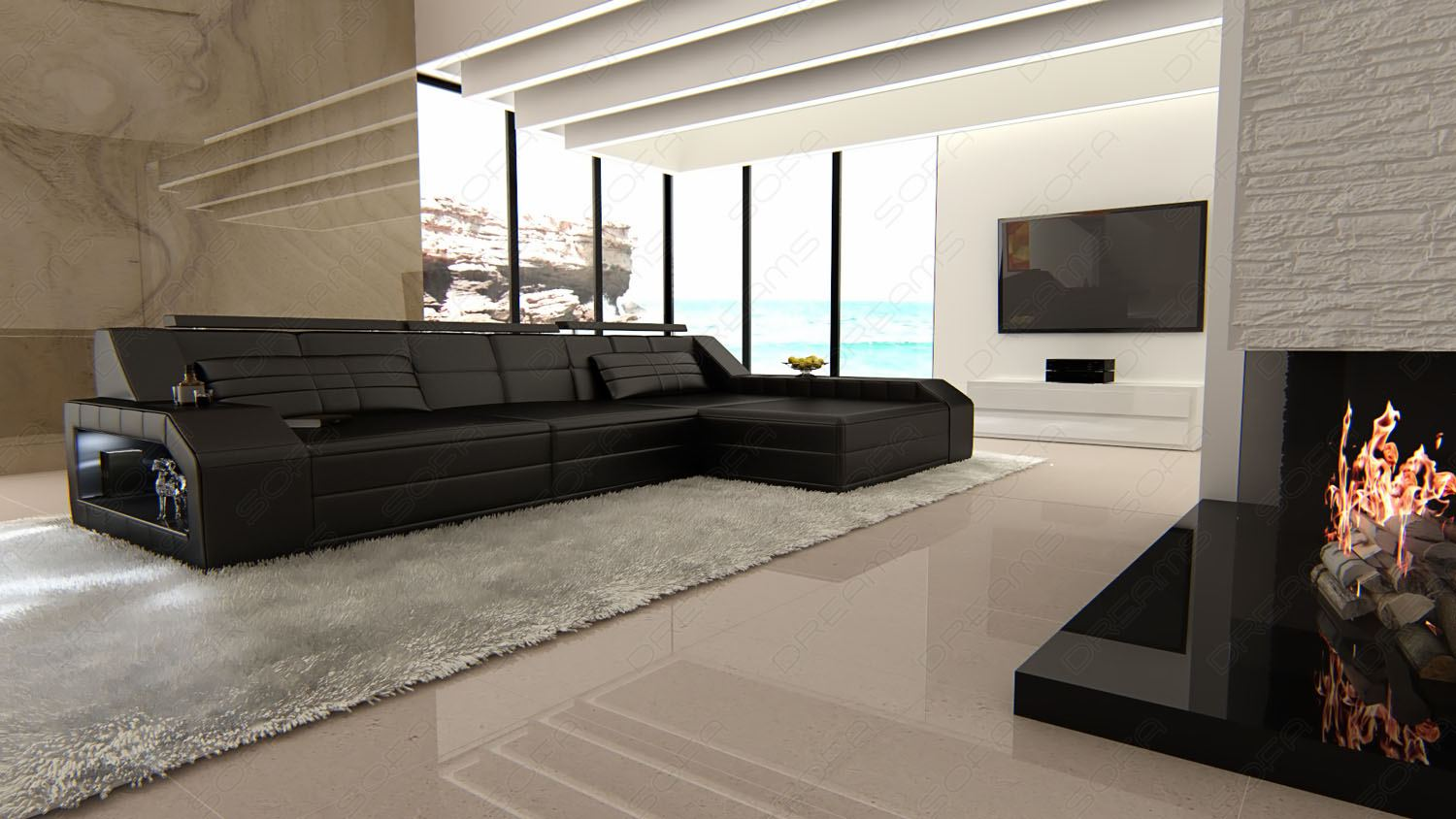 Details about Modern Sectional Corner Leather Sofa Houston L Shape with LED  Lights
