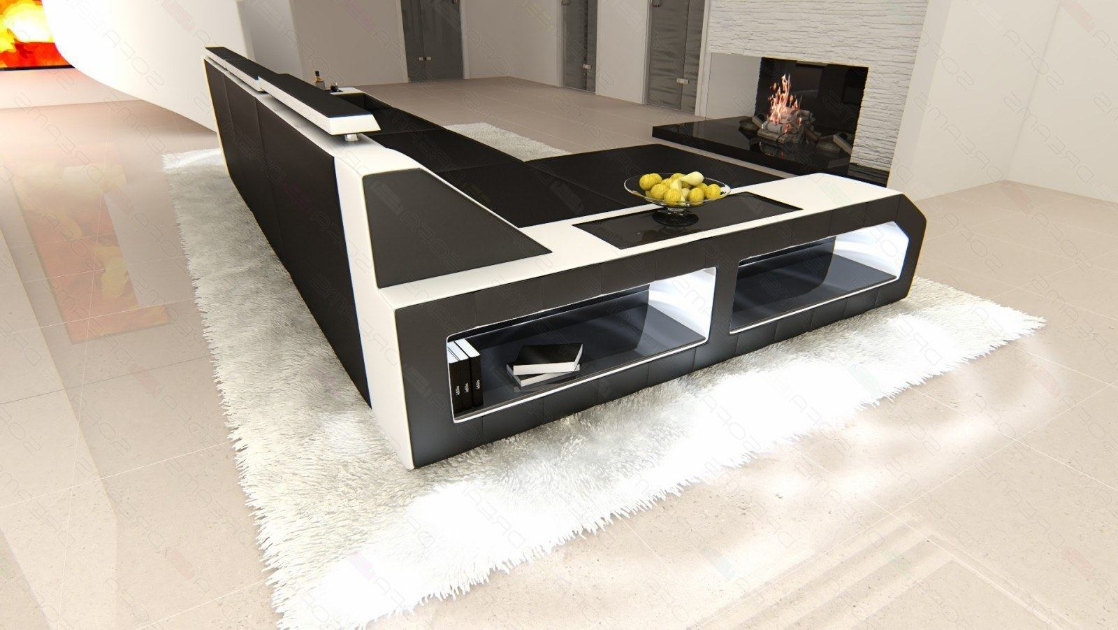ledersofa arezzo l form eckcouch mit beleuchtung schwarz weiss ebay. Black Bedroom Furniture Sets. Home Design Ideas