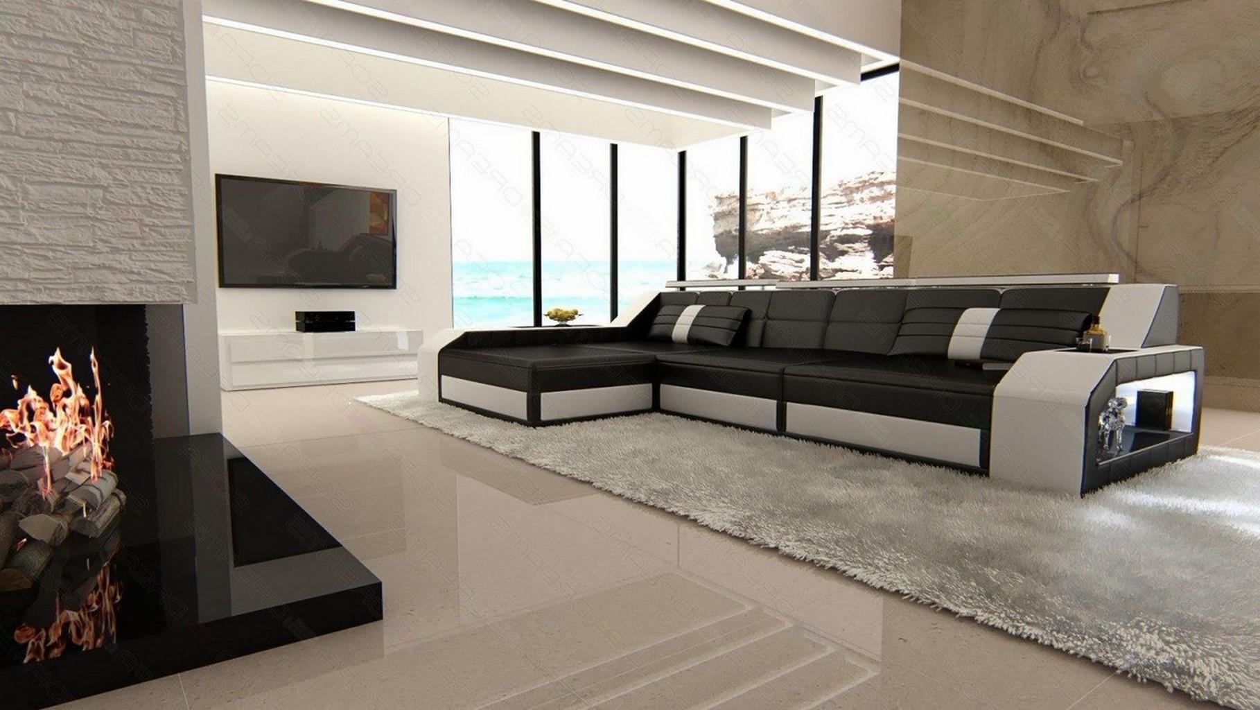 ledersofa arezzo l form eckcouch mit beleuchtung schwarz weiss ebay. Black Bedroom Furniture Sets. Home Design Ideas