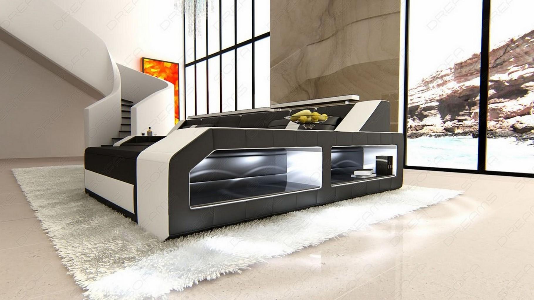 ledersofa arezzo l form eckcouch mit beleuchtung schwarz weiss lagerware 4055497023168 ebay. Black Bedroom Furniture Sets. Home Design Ideas