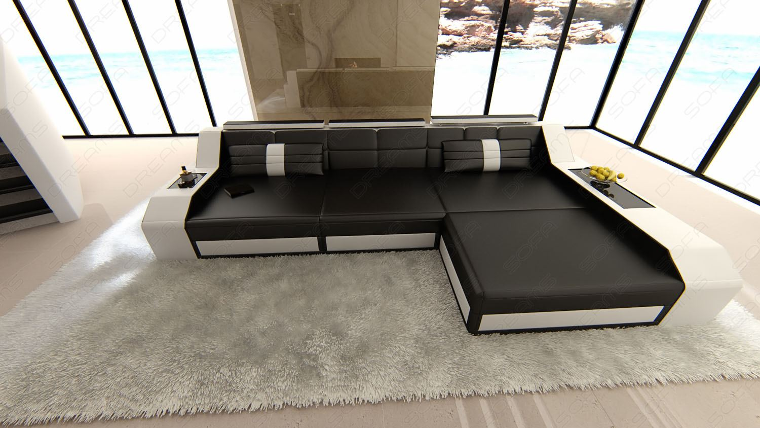 ledersofa arezzo l form eckcouch mit beleuchtung schwarz weiss lagerware ebay. Black Bedroom Furniture Sets. Home Design Ideas