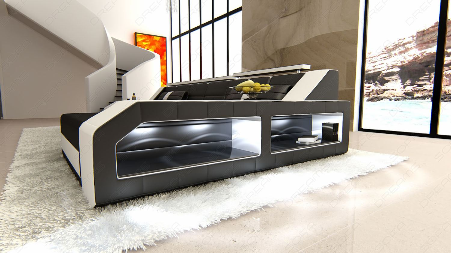 modern sectional sofa arezzo l shaped with led lights black white ebay. Black Bedroom Furniture Sets. Home Design Ideas