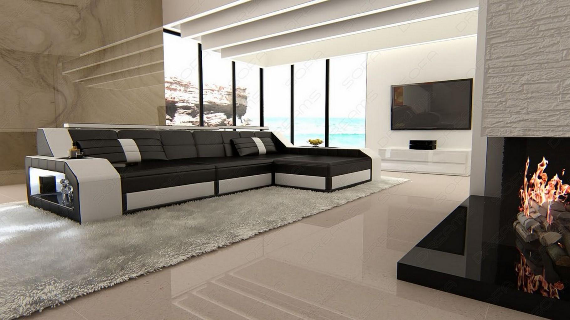 ledersofa arezzo l form eckcouch mit beleuchtung schwarz weiss lagerware ebay. Black Bedroom Furniture Sets. Home Design Ideas