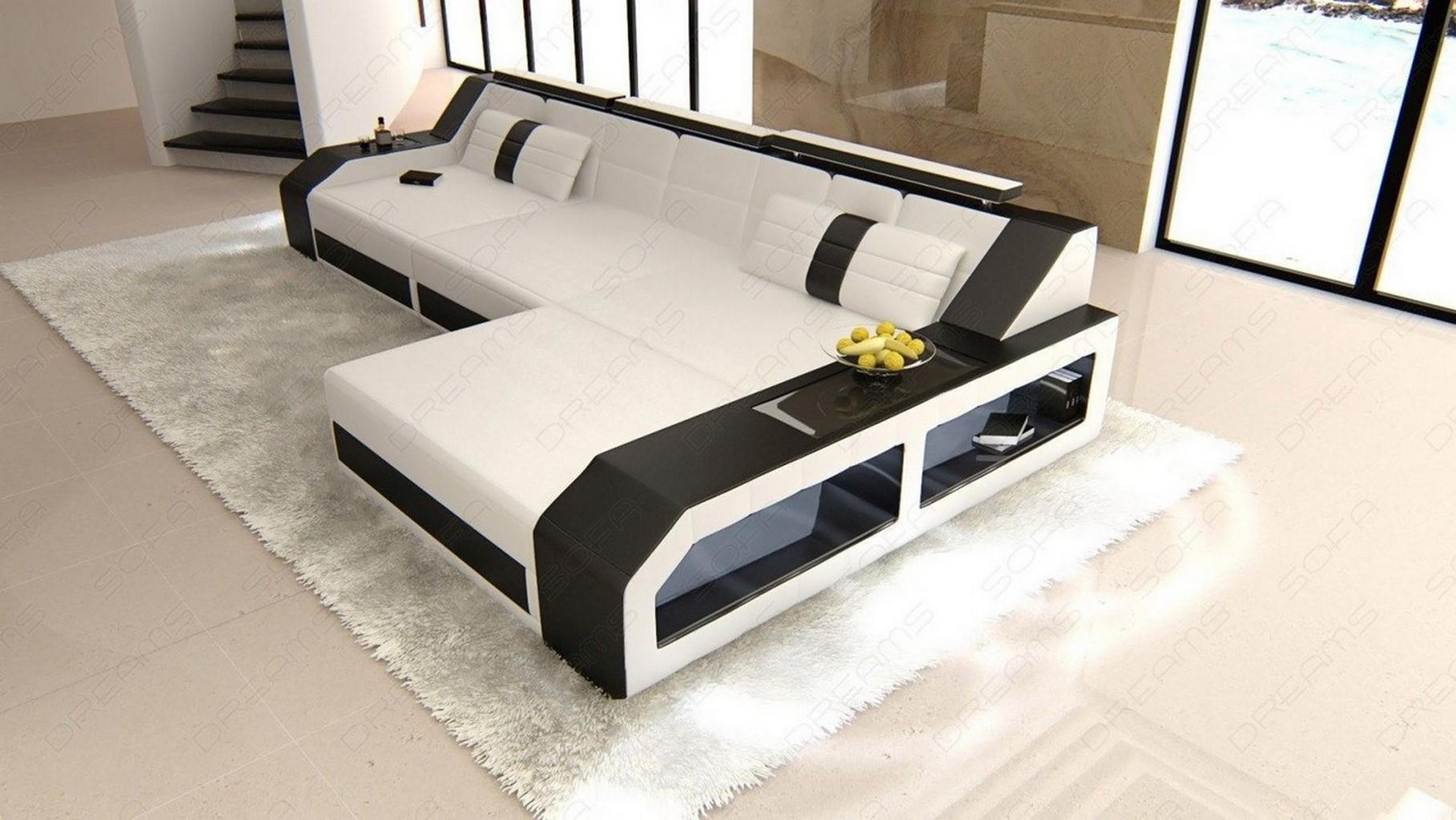 ledersofa arezzo l form eckcouch mit beleuchtung weiss schwarz ebay. Black Bedroom Furniture Sets. Home Design Ideas