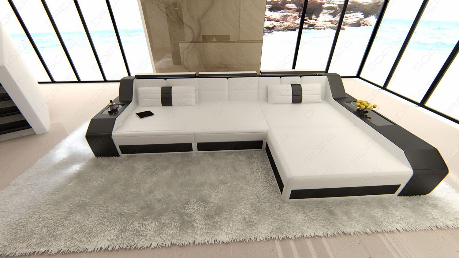 modern sectional corner sofa arezzo l shape with led. Black Bedroom Furniture Sets. Home Design Ideas