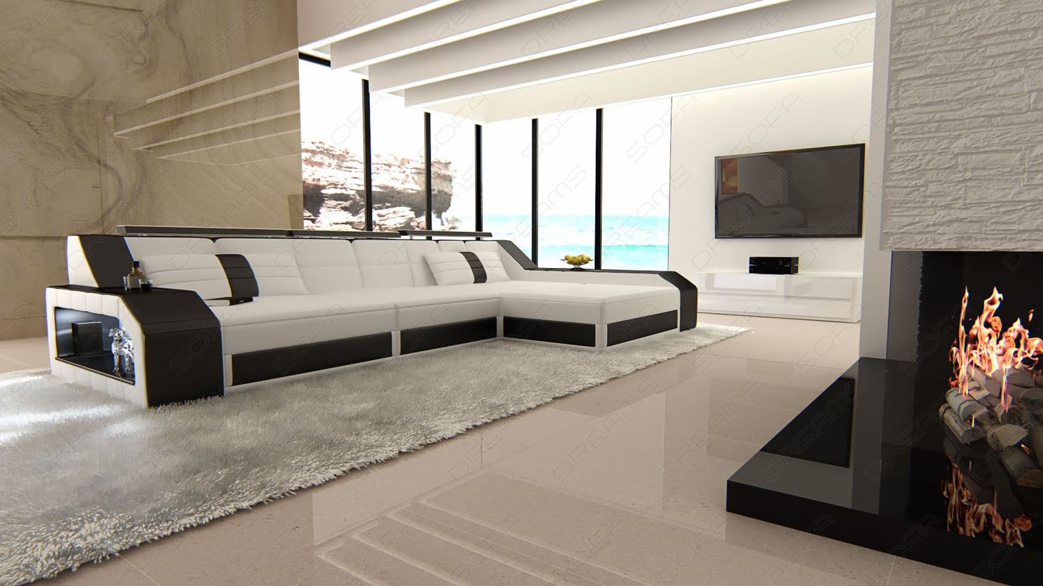 ledersofa eckcouch sofa leder arezzo l form ecksofa beleuchtung viele farben ebay. Black Bedroom Furniture Sets. Home Design Ideas