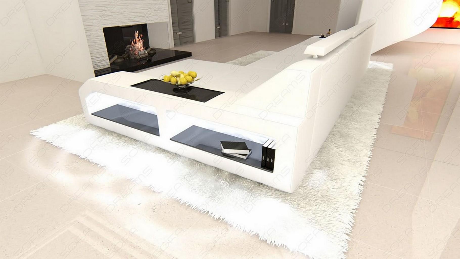 ledersofa eckcouch sofa leder arezzo l form ecksofa beleuchtung viele farben ebay. Black Bedroom Furniture Sets. Home Design Ideas