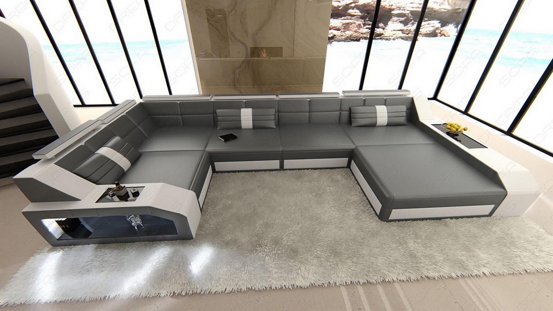 Design Sectional Sofa Arezzo Led Grey White Ebay
