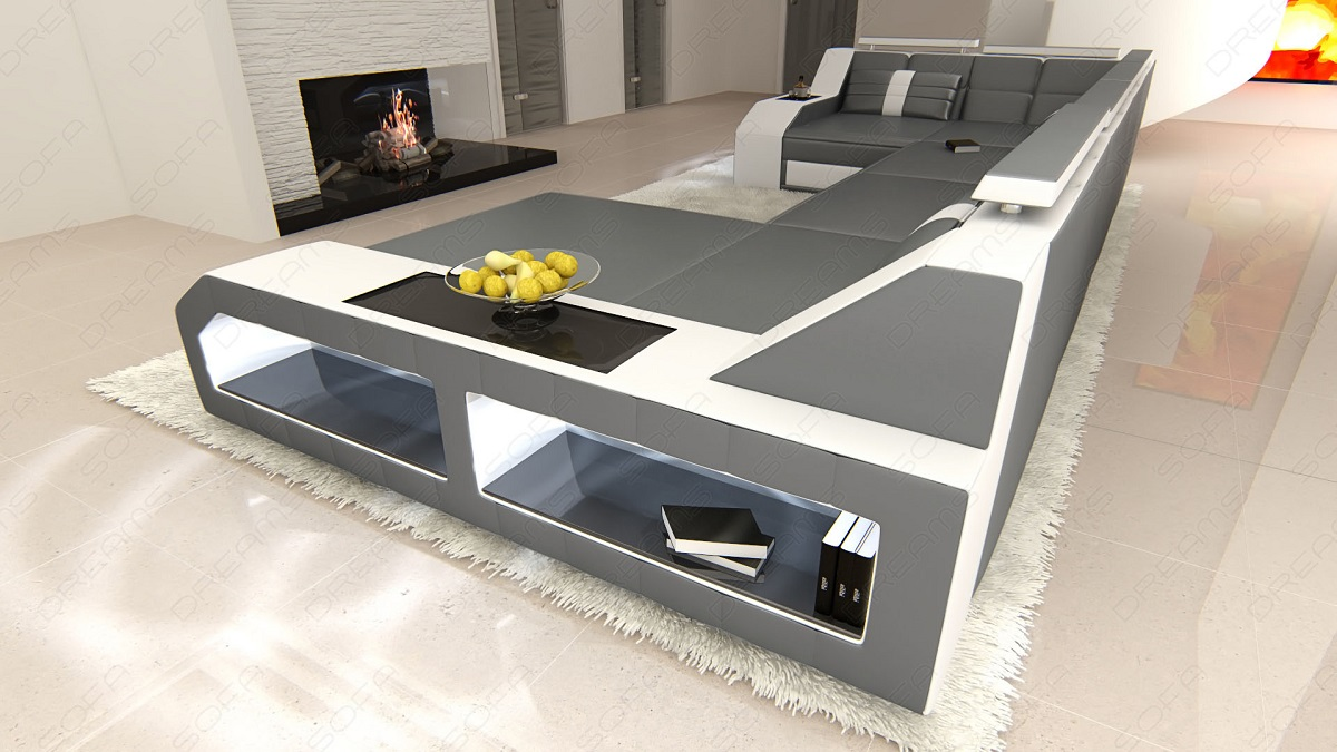 design sectional sofa arezzo led grey white ebay. Black Bedroom Furniture Sets. Home Design Ideas