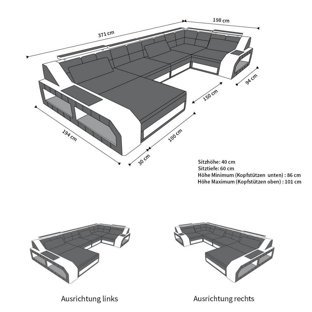 Couch u form maße  Wohnlandschaft AREZZO U-Form Ecksofa mit Beleuchtung weiss schwarz ...