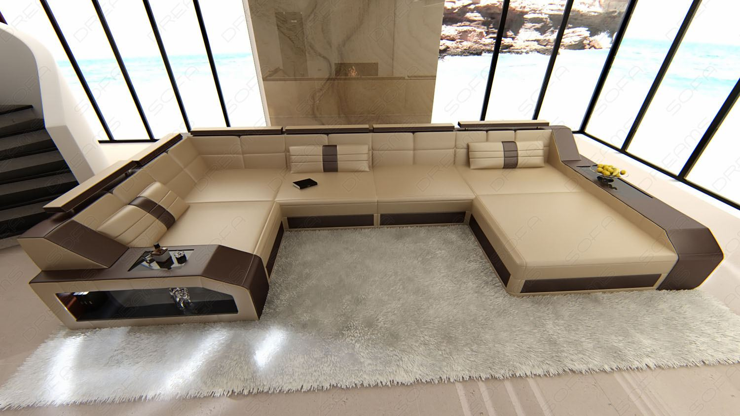 design sectional sofa arezzo led sandbeige darkbrown ebay. Black Bedroom Furniture Sets. Home Design Ideas