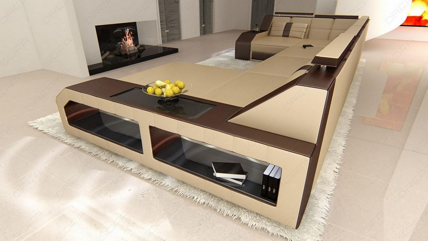 design sectional sofa arezzo led sandbeige darkbrown ebay. Black Bedroom Furniture Sets. Home Design Ideas