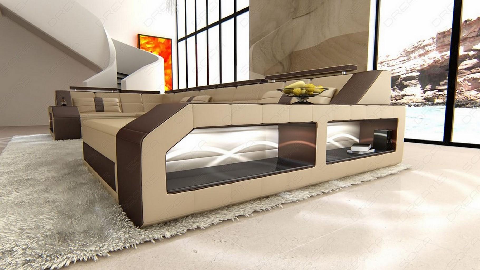 Design Sectional Sofa Arezzo Led Sandbeige Darkbrown Ebay
