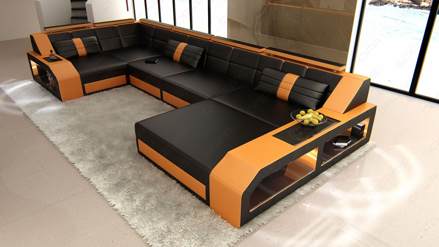 ecksofa wohnlandschaft arezzo u form designersofa beleuchtung ebay. Black Bedroom Furniture Sets. Home Design Ideas