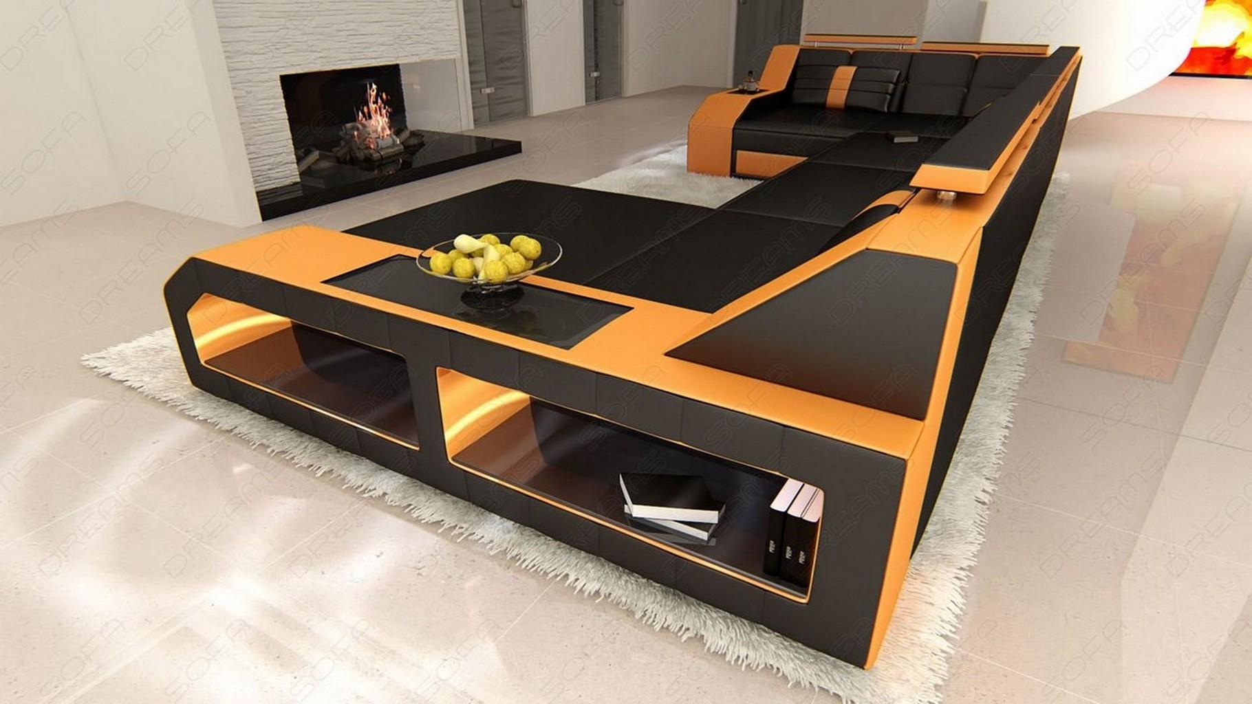 design sectional sofa arezzo led black orange ebay. Black Bedroom Furniture Sets. Home Design Ideas