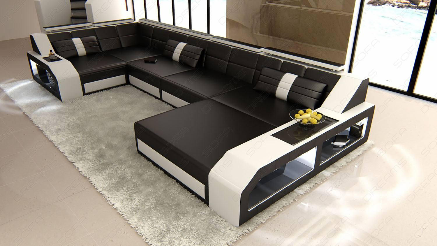 design sectional sofa arezzo led black white ebay. Black Bedroom Furniture Sets. Home Design Ideas