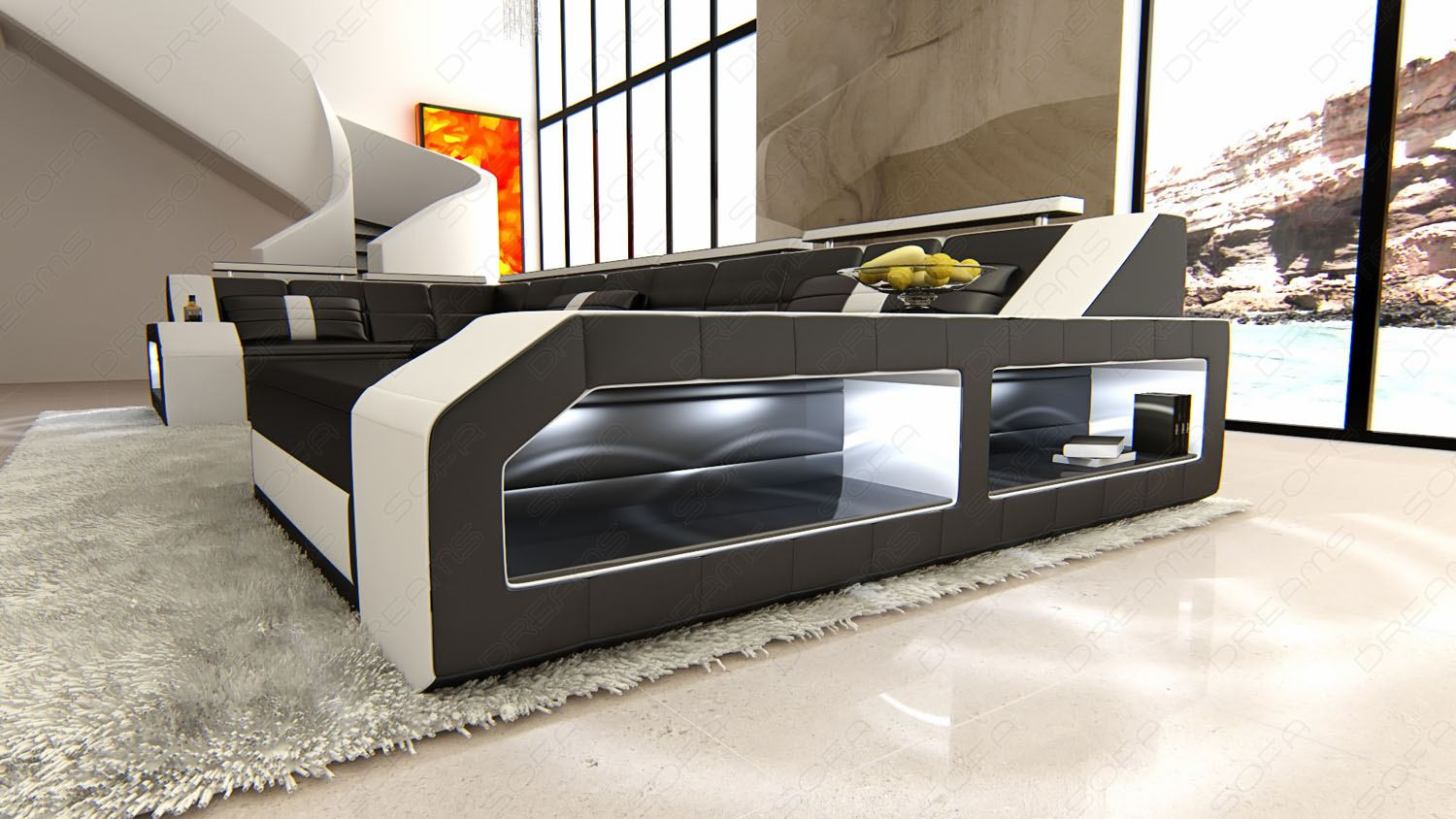 design sectional sofa arezzo led black white ebay. Black Bedroom Furniture Sets. Home Design Ideas