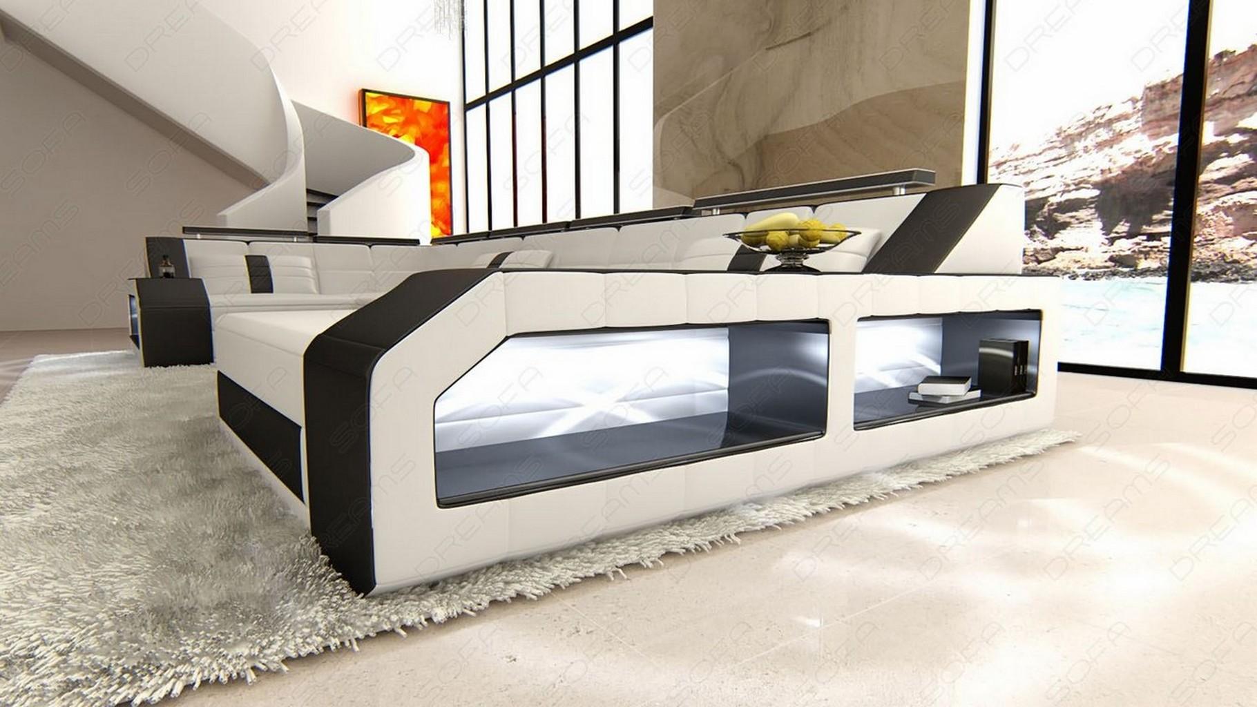 wohnlandschaft ledersofa couch arezzo u form ecksofa beleuchtung weiss schwarz ebay. Black Bedroom Furniture Sets. Home Design Ideas