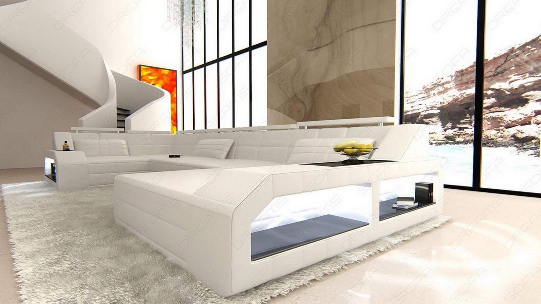 sofa wohnlandschaft leder designer couch arezzo u form ecksofa beleuchtung weiss ebay. Black Bedroom Furniture Sets. Home Design Ideas