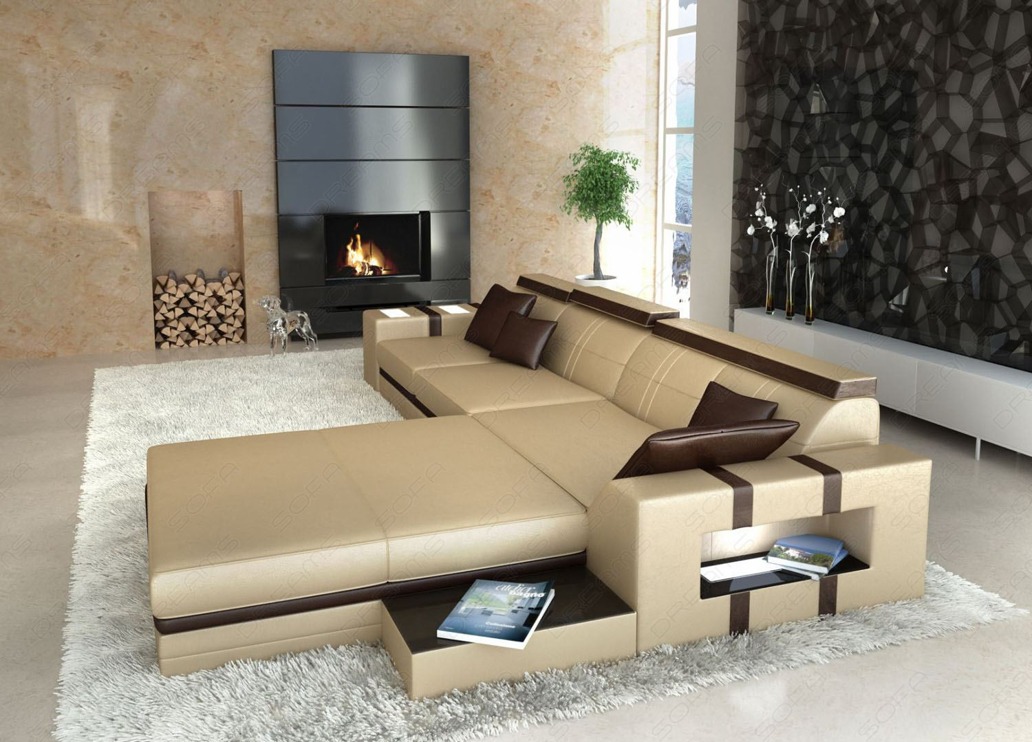 asti l shaped leather couch sofa with light interior. Black Bedroom Furniture Sets. Home Design Ideas