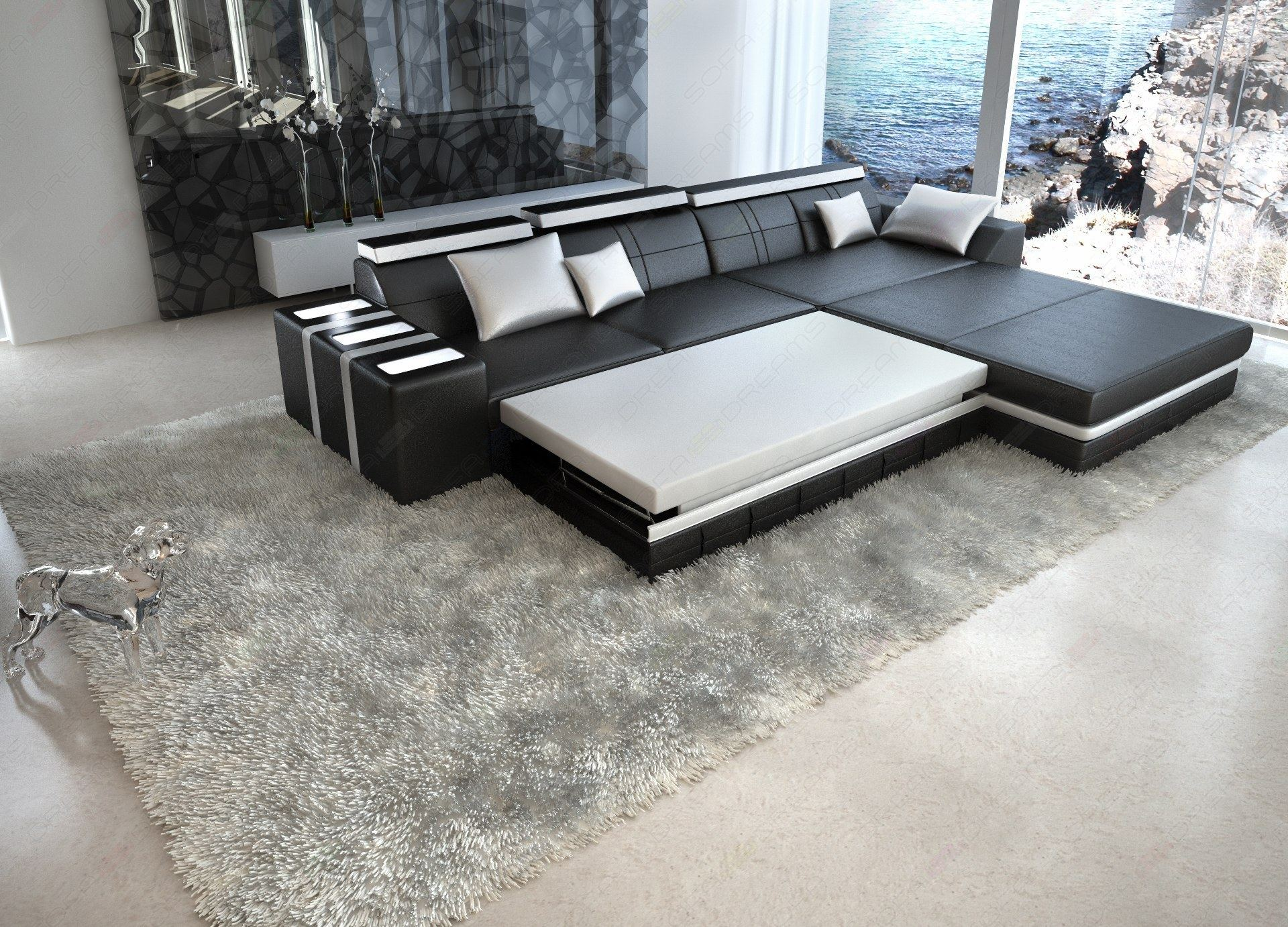 ledersofa asti l form wei mit beleuchtung design. Black Bedroom Furniture Sets. Home Design Ideas