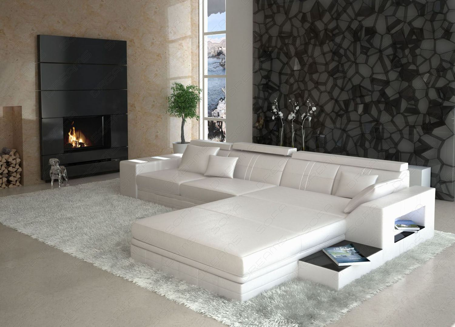 ledersofa asti l form sofa mit licht wohnlandschaft ecksofa ebay. Black Bedroom Furniture Sets. Home Design Ideas