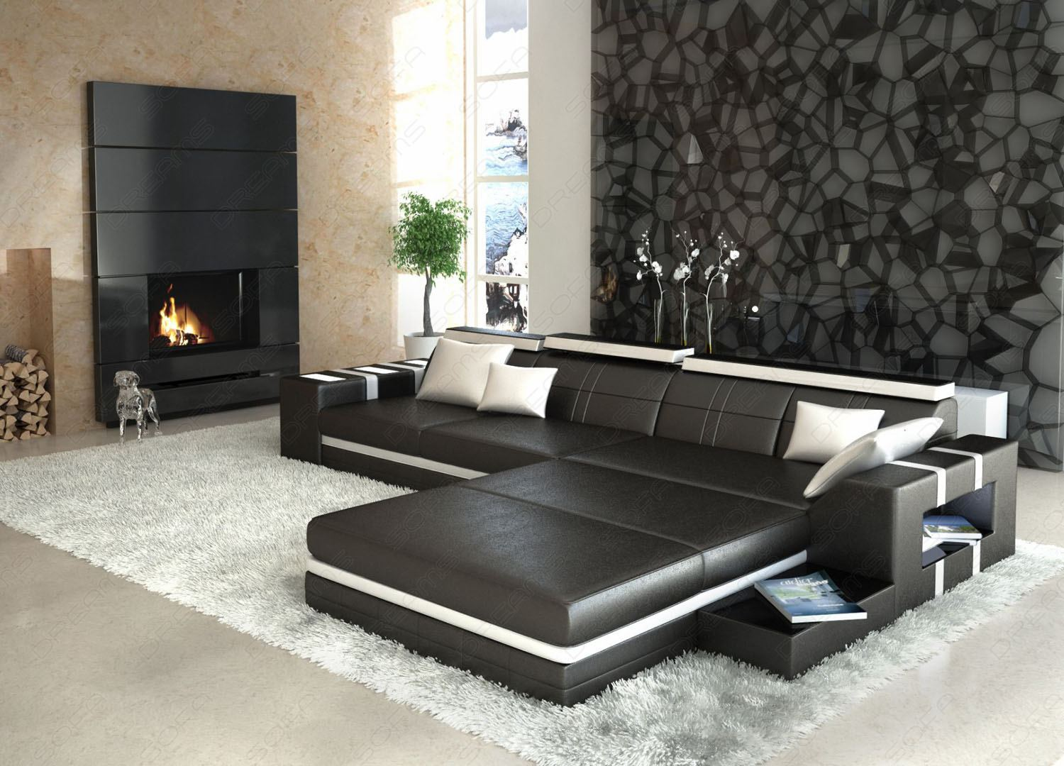 ledersofa asti l form schwarz weiss mit beleuchtung. Black Bedroom Furniture Sets. Home Design Ideas