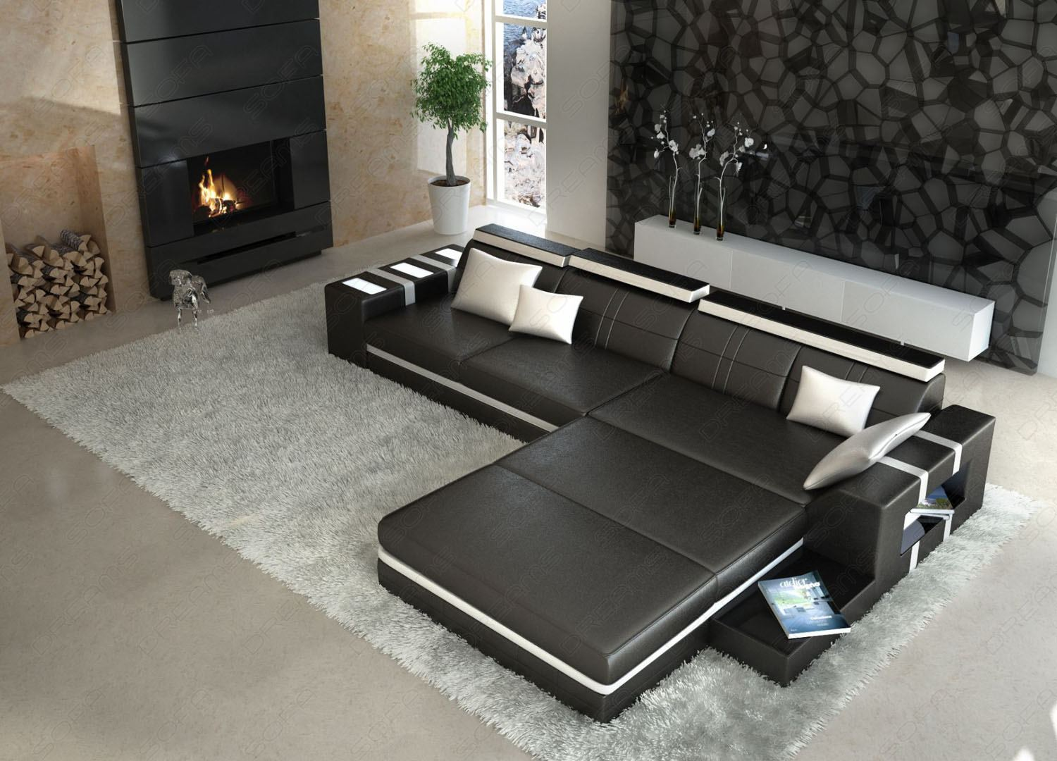 sofa mit beleuchtung otto modern sofa bellagio led l. Black Bedroom Furniture Sets. Home Design Ideas