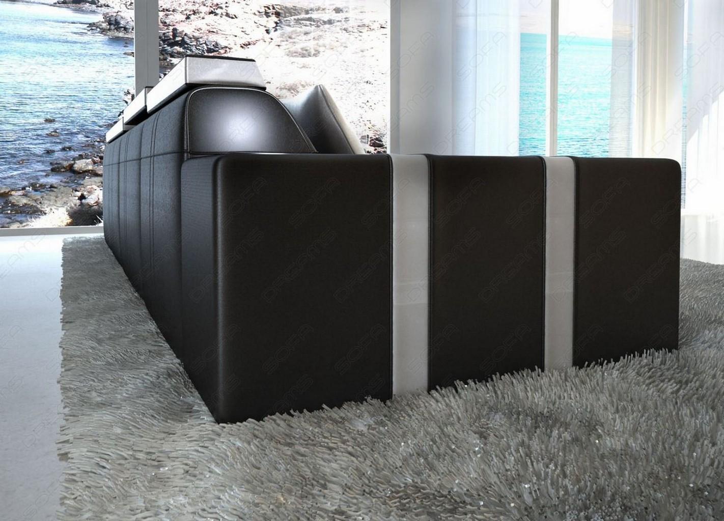 ledersofa asti l form schwarz weiss mit beleuchtung. Black Bedroom Furniture Sets. Home Design Ideas