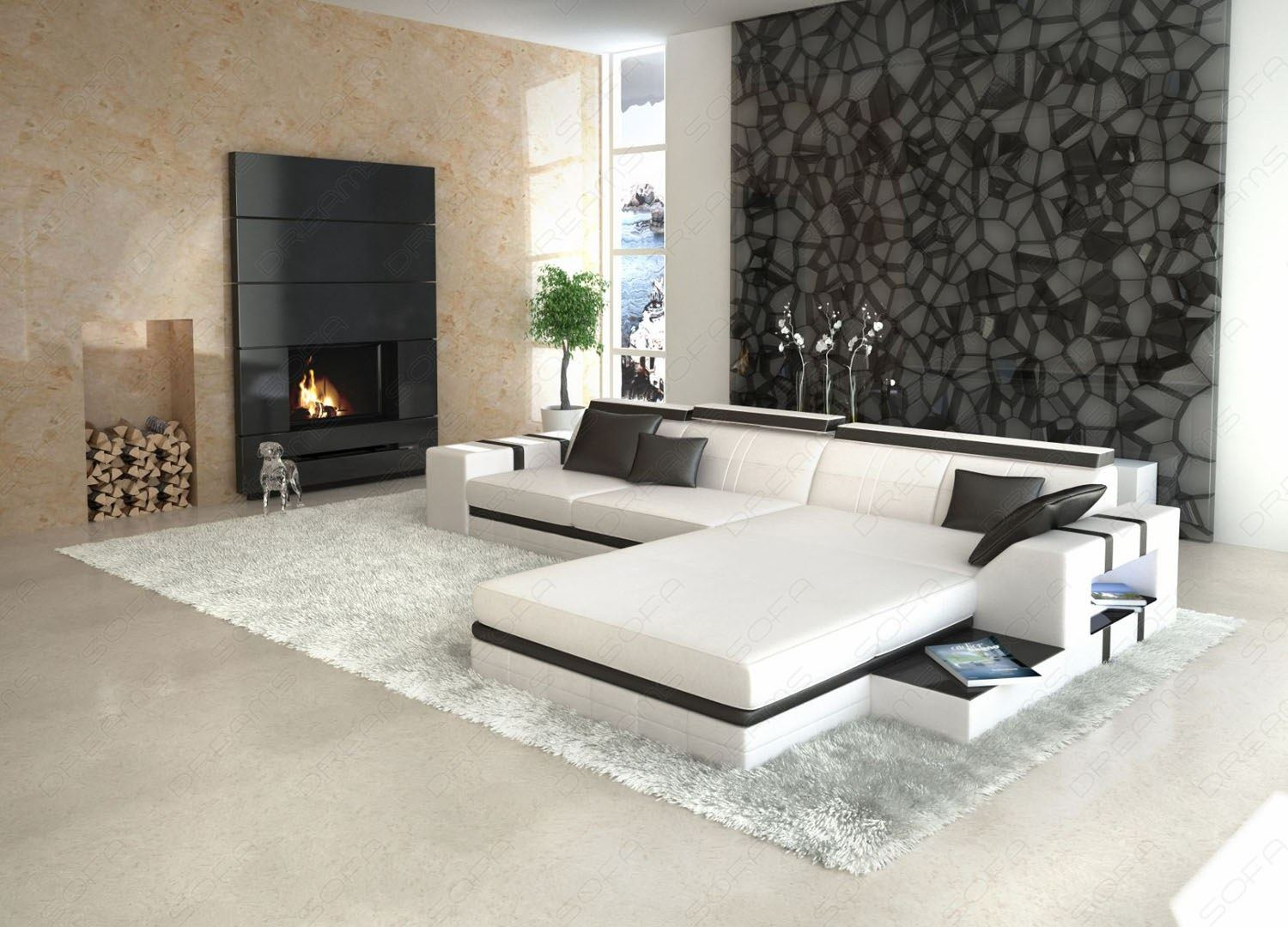 ledersofa asti l form wei mit beleuchtung design wohnlandschaft ebay. Black Bedroom Furniture Sets. Home Design Ideas