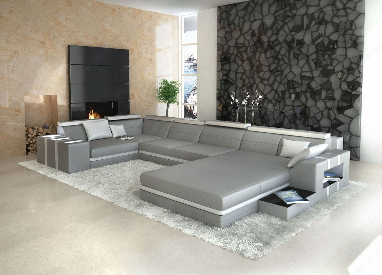 Leather Sofa Asti U Shaped Grey White Interior Design Lighting Ebay