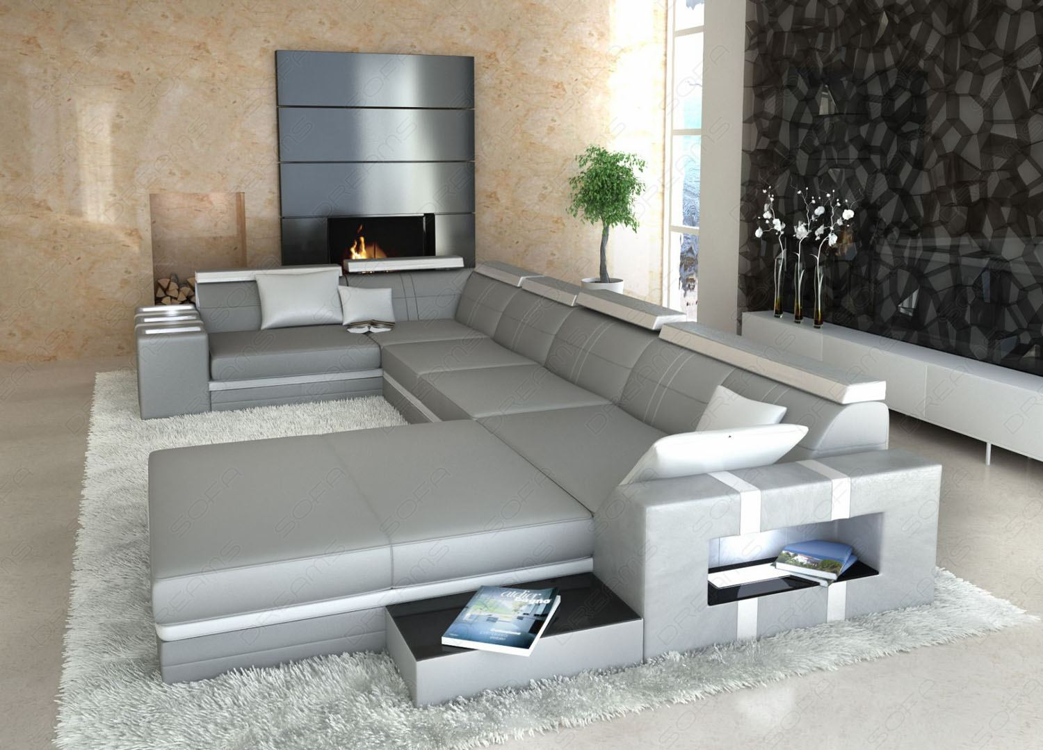 ledersofa asti u form grau weiss wohnlandschaft. Black Bedroom Furniture Sets. Home Design Ideas