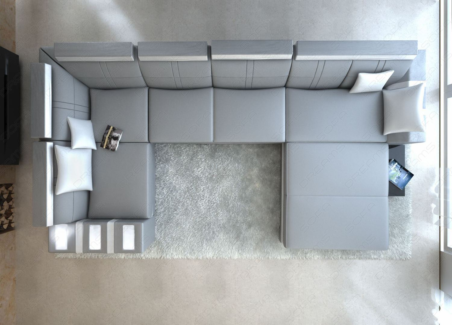 Leather Sofa Asti U-shaped Grey/white Interior Design ...