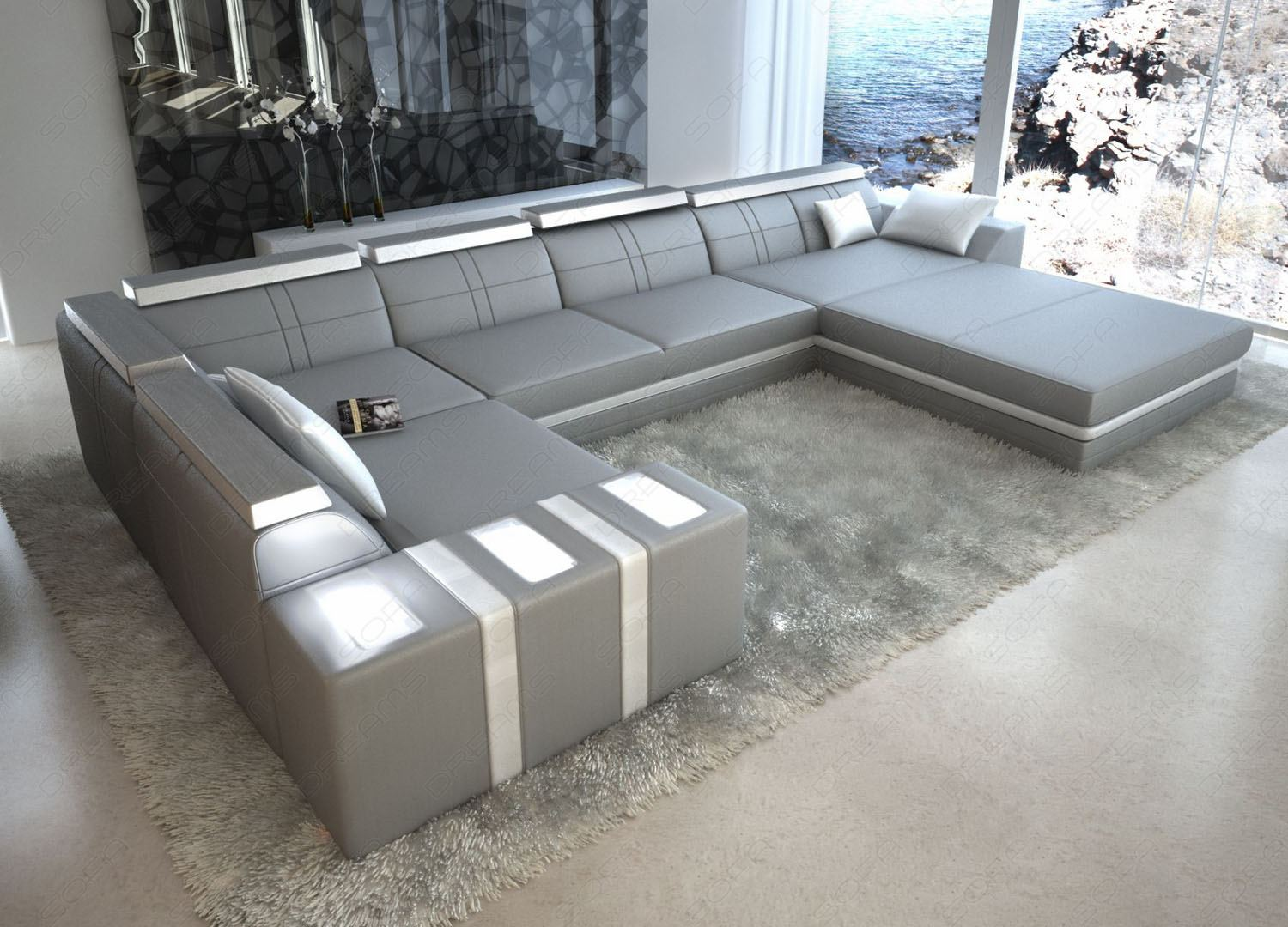 leather sofa asti u shaped grey white interior design lighting ebay. Black Bedroom Furniture Sets. Home Design Ideas