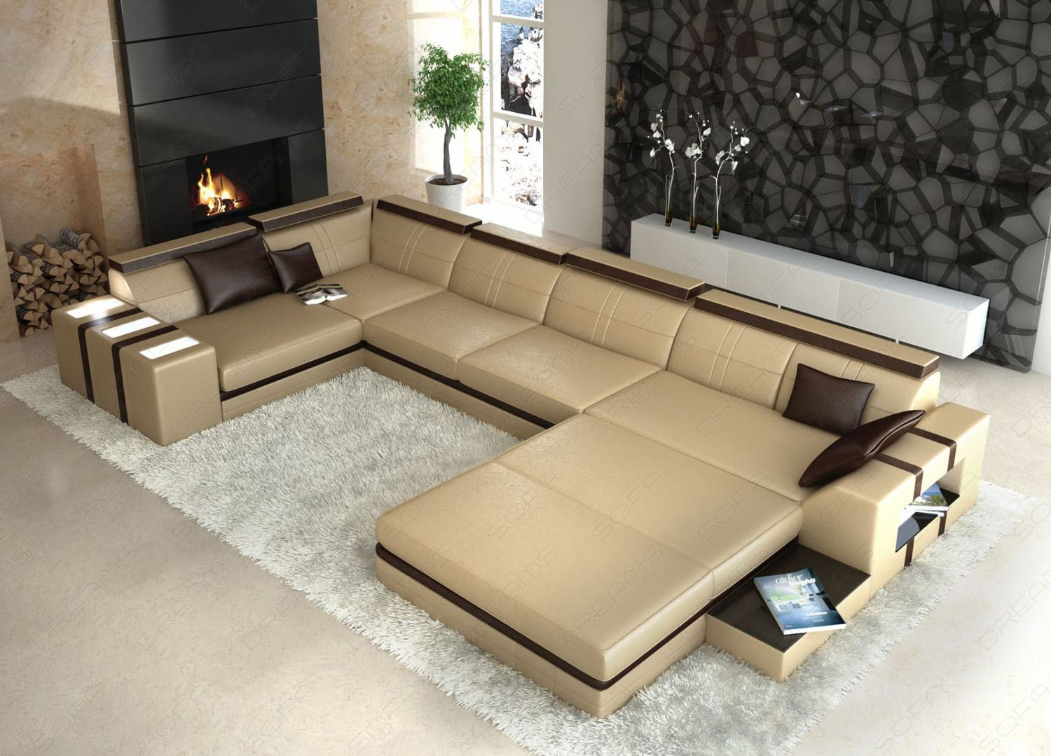 ledersofa asti u form beige braun wohnlandschaft. Black Bedroom Furniture Sets. Home Design Ideas