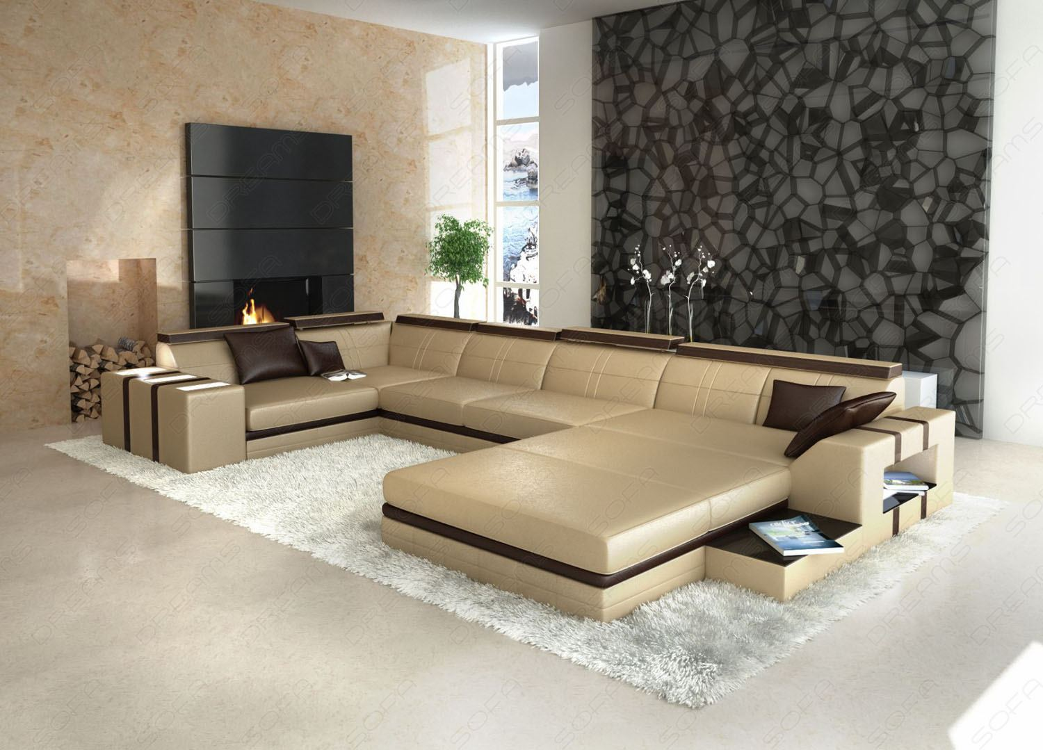 ledersofa asti u form beige braun wohnlandschaft beleuchtung ebay. Black Bedroom Furniture Sets. Home Design Ideas