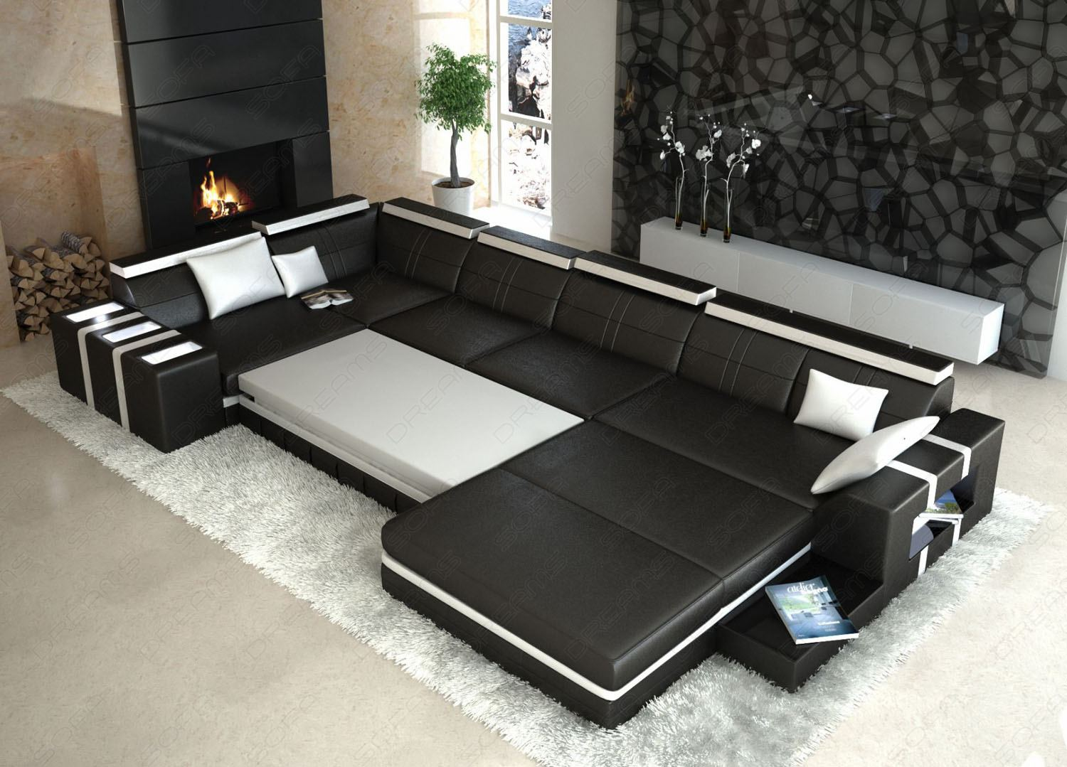 designer wohnlandschaft asti u form weiss schwarz ledersofa. Black Bedroom Furniture Sets. Home Design Ideas