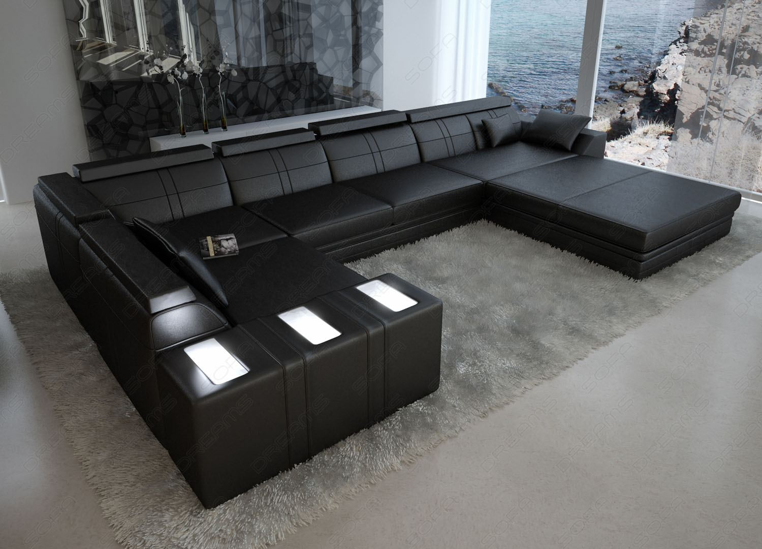 ledersofa asti u form sofa mit licht wohnlandschaft ecksofa ebay. Black Bedroom Furniture Sets. Home Design Ideas