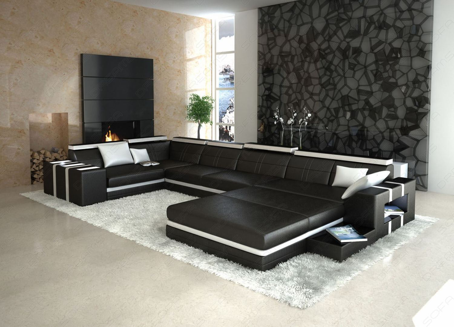 pin leder couch wei mit federkern 5042 r3 w on pinterest. Black Bedroom Furniture Sets. Home Design Ideas