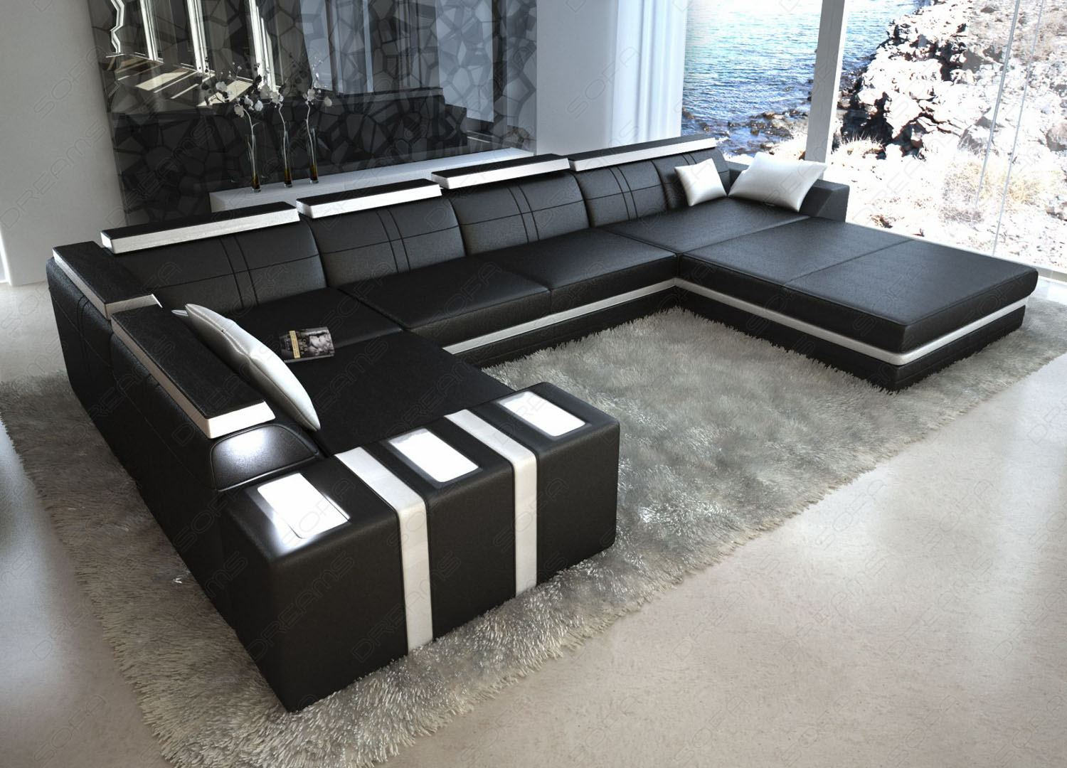 ledersofa asti u form schwarz weiss wohnlandschaft mit licht ebay. Black Bedroom Furniture Sets. Home Design Ideas