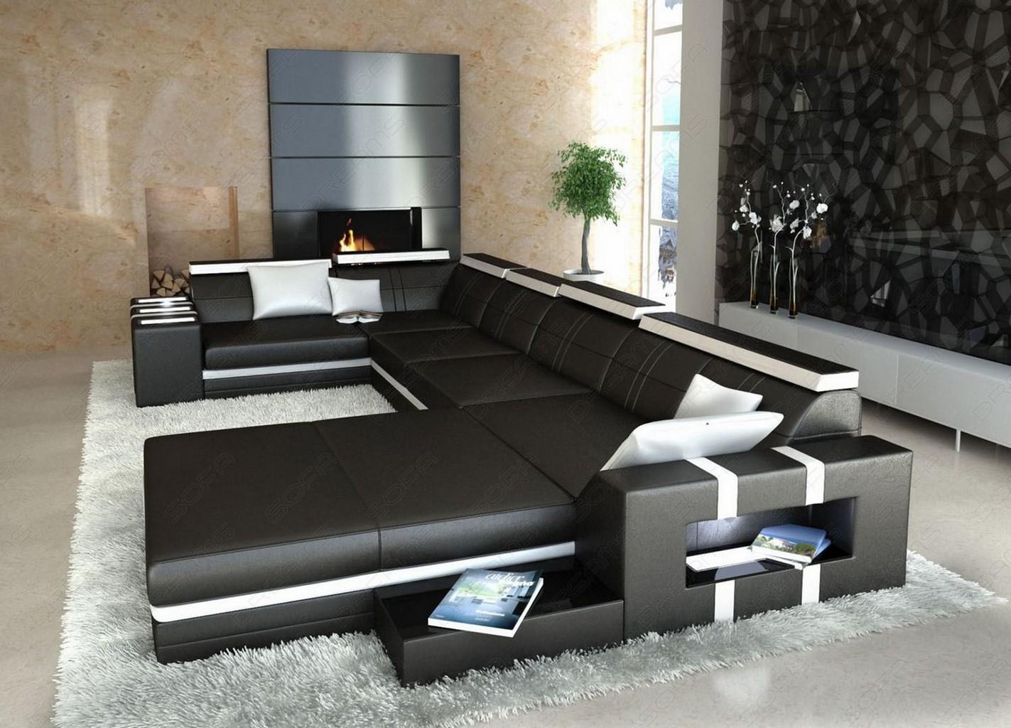 ledersofa asti u form schwarz weiss wohnlandschaft mit licht. Black Bedroom Furniture Sets. Home Design Ideas