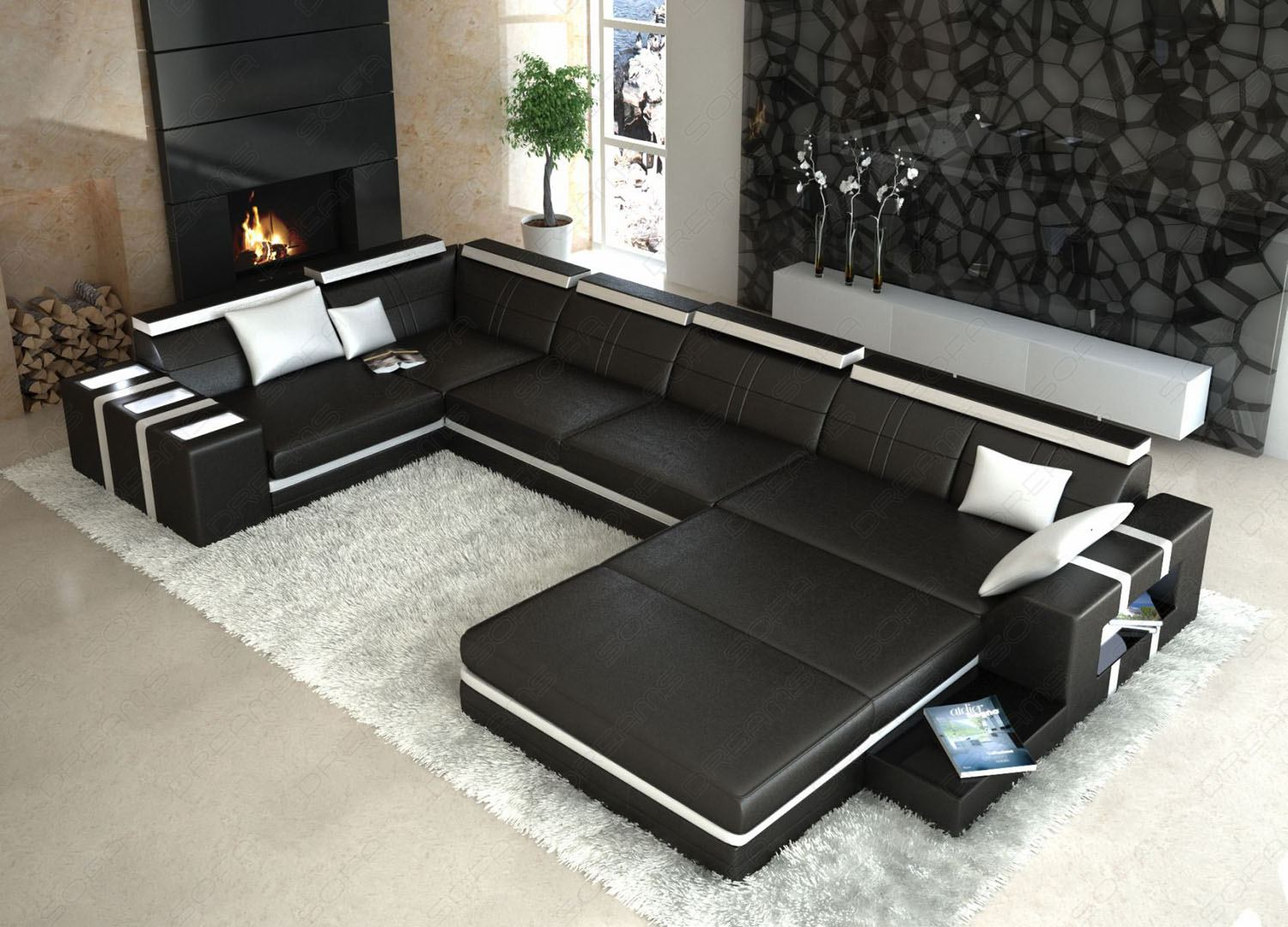 ledersofa asti u form schwarz weiss wohnlandschaft mit licht. Black Bedroom Furniture Sets. Home Design Ideas