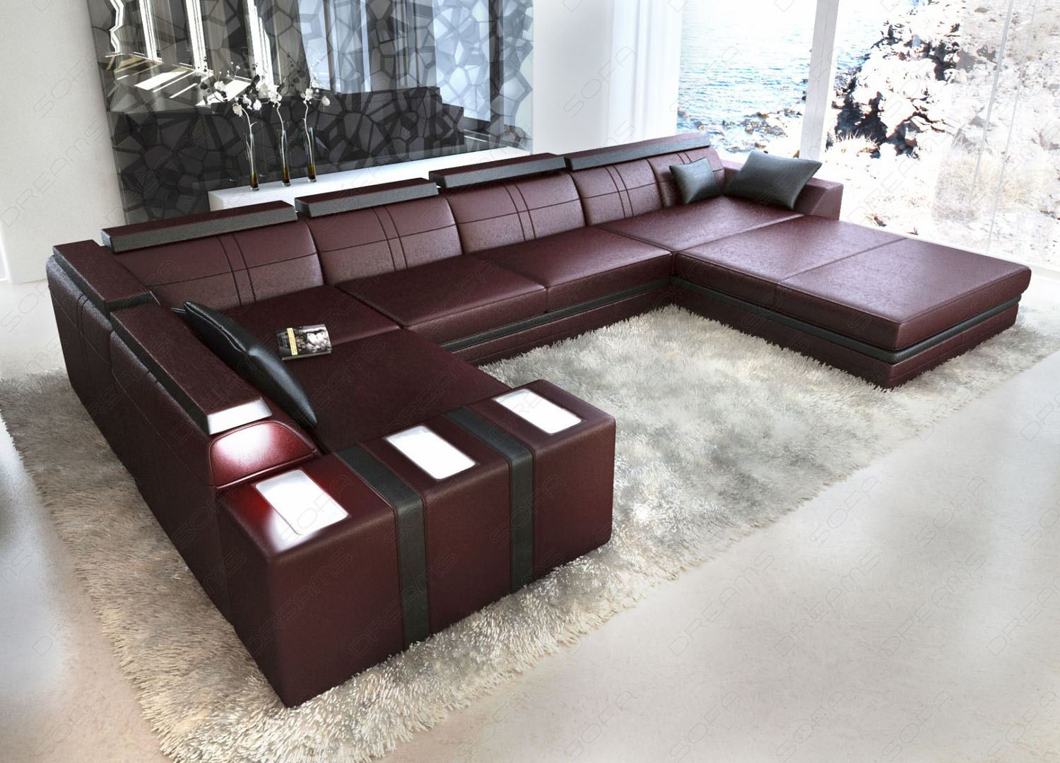 leather sofa asti u shape burgundy black interior design. Black Bedroom Furniture Sets. Home Design Ideas