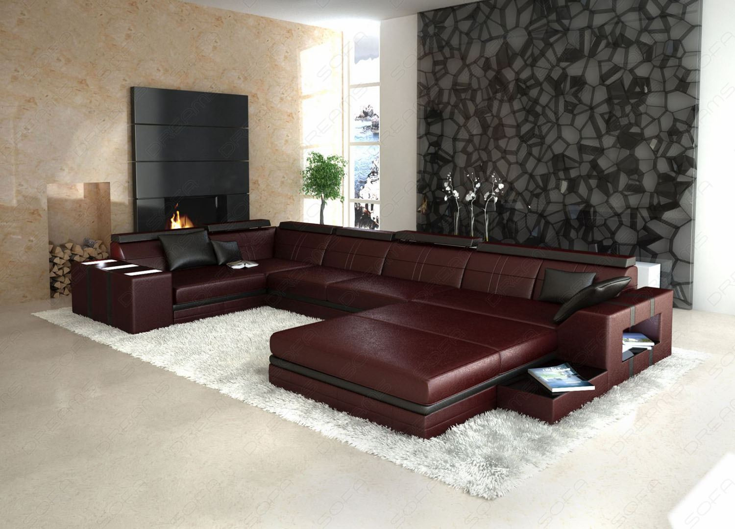 sofa u form federkern carprola for. Black Bedroom Furniture Sets. Home Design Ideas
