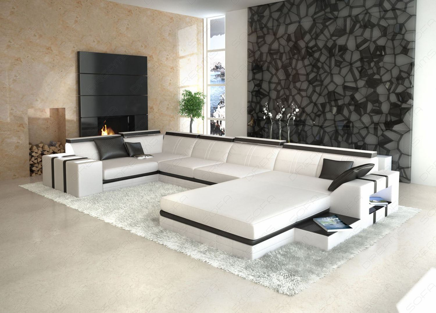 designer wohnlandschaft asti u form weiss schwarz ledersofa ebay. Black Bedroom Furniture Sets. Home Design Ideas