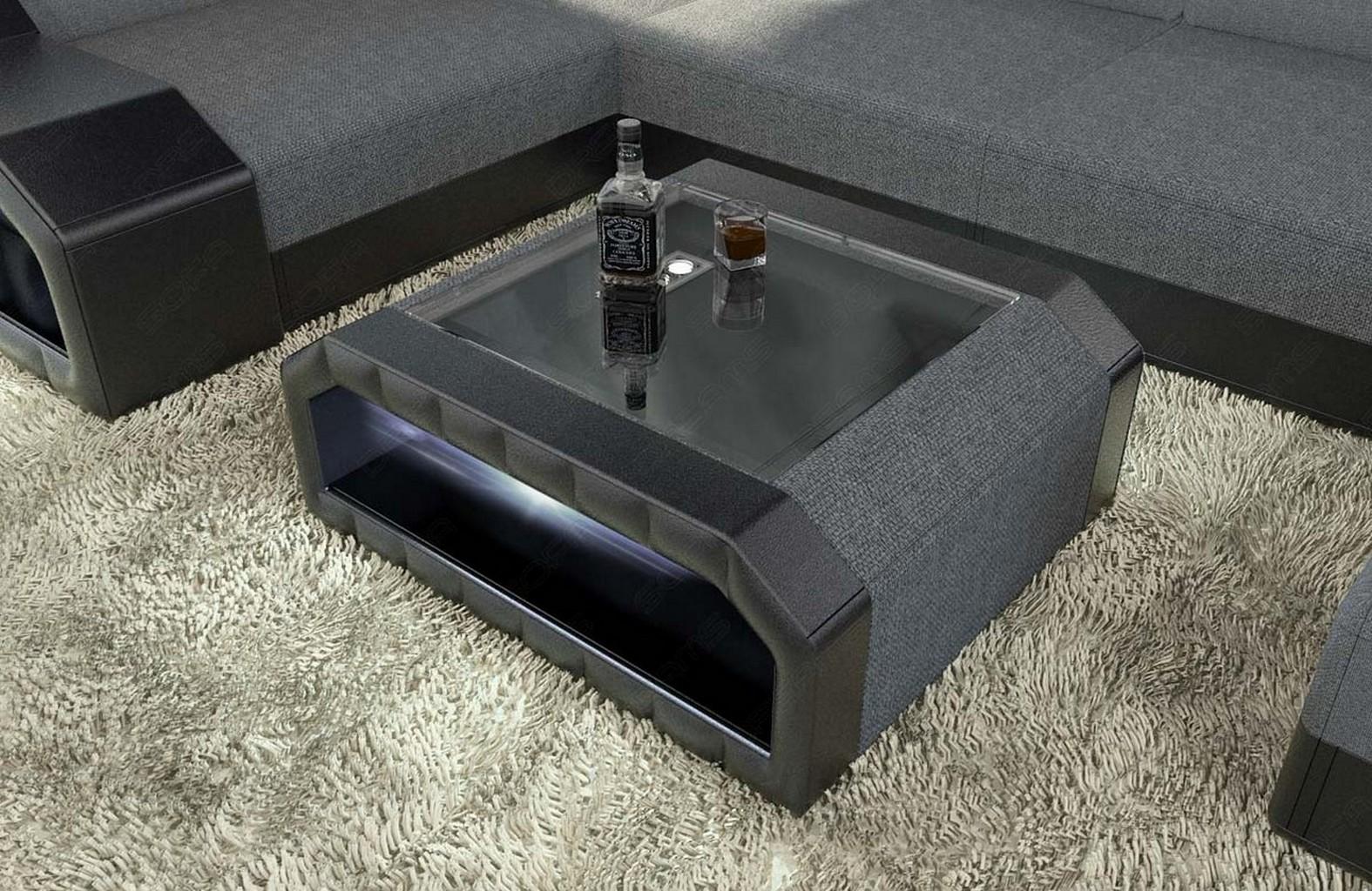 couchtisch beistelltisch stoff matera beleuchtung sicherheitsglasplatte tisch ebay. Black Bedroom Furniture Sets. Home Design Ideas