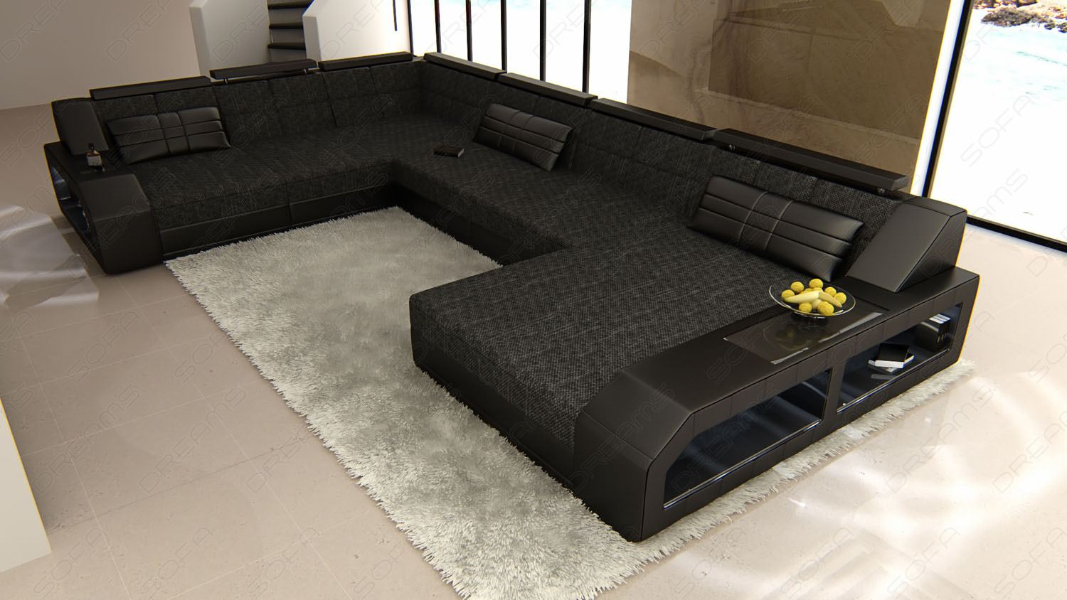 fabric sectional design sofa matera xxl sofa with led lights colour selection ebay. Black Bedroom Furniture Sets. Home Design Ideas