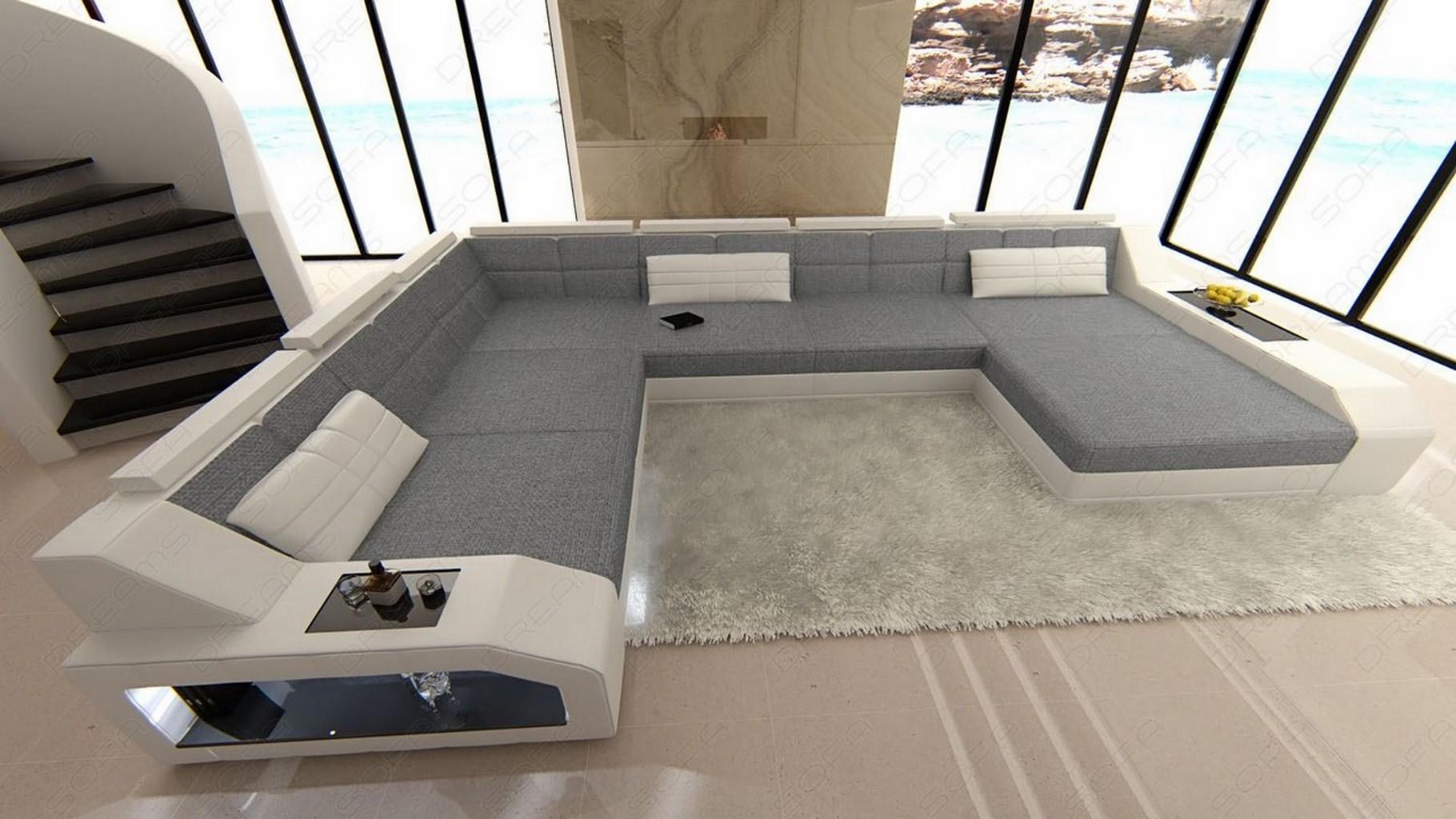 wohnlandschaft matera xxl design couch luxus sofa stoff strukturstoff weiss grau ebay. Black Bedroom Furniture Sets. Home Design Ideas