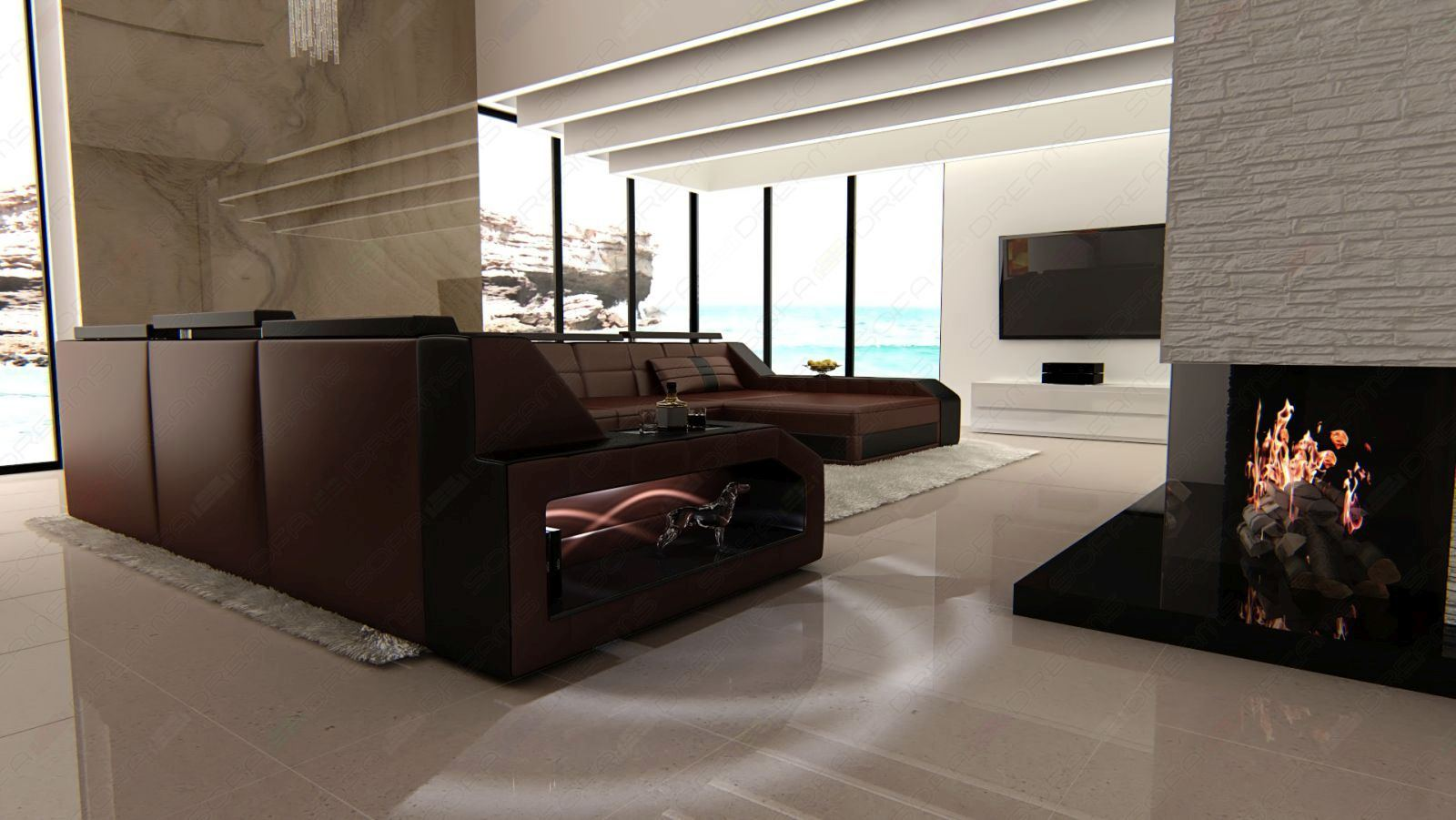 xxl leder wohnlandschaft matera u form designercouch beleuchtung ebay. Black Bedroom Furniture Sets. Home Design Ideas